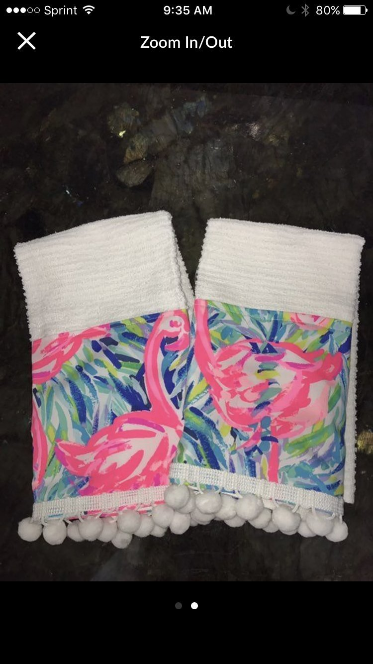 Pink Flamenco Flamingo Kitchen Towel Set made with Lilly Pulitzer Fabric by Pink Alligator (Image #2)