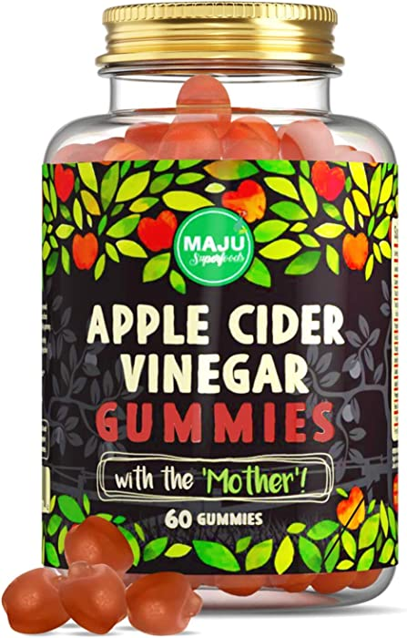 MAJU Apple Cider Vinegar Gummies with Mother, 2X Stronger (1000 mg), Unfiltered ACV, Gluten-Free, Chewable, Low Sugar Content
