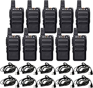 Retevis RT19 Walkie Talkies for Adults Long Range,Rechargeable 2 Way Radios with Earpiece,Mini Two Way Radio,1300mAh Battery, Metal Clip,Hands Free,for Business(10 Pack)
