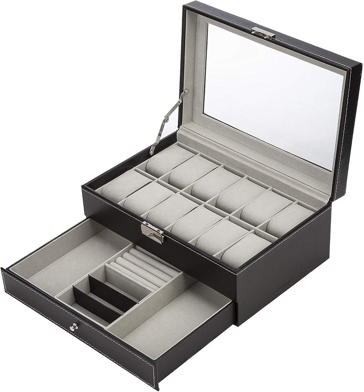 Readaeer Caja relojes con dos capas