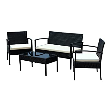 IDS Home Compact Garden Lawn Outdoor/Indoor 4 PC Rattan Patio Wicker  Furniture Set With
