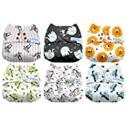 Mama Koala One Size Baby Washable Reusable Pocket Cloth Diapers, 6 Pack with 6 One Size Microfiber Inserts (Rainforest)