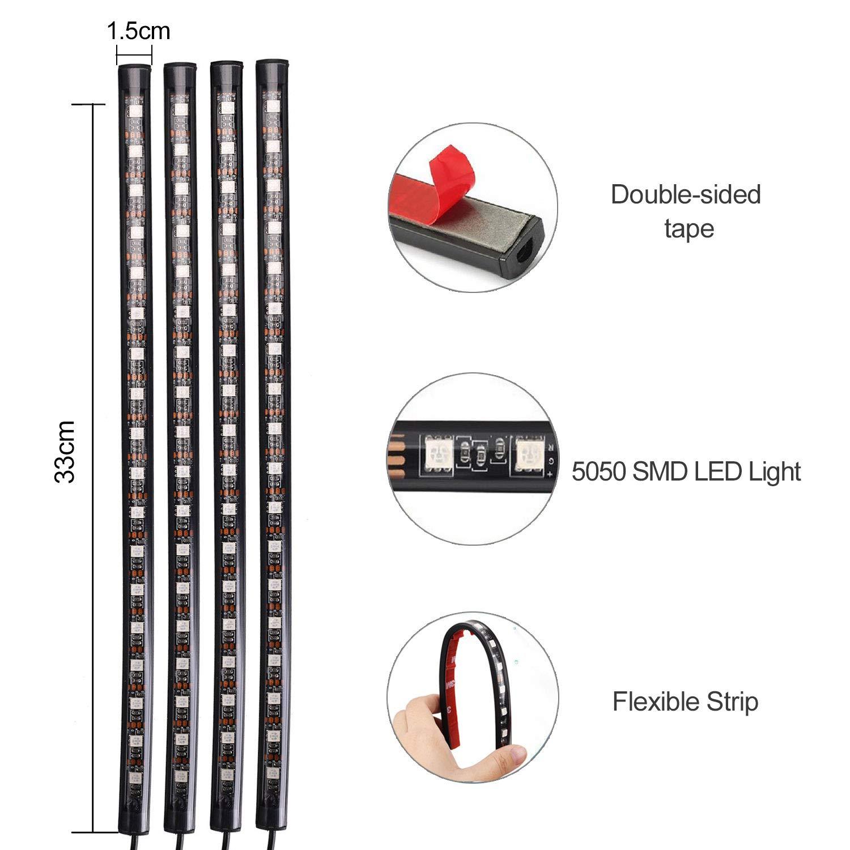 XUNATA 72 LED Auto Innenbeleuchtung Atmosph/äre Lichtleiste Wasserdicht RGB LED Streifen mit USB-Port Auto Ladeger/ät IR-Drahtlose Steuerung