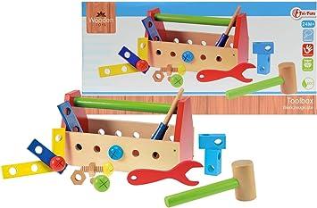 Toi-Toys 82502 - Caja de Herramientas de Juguete de Madera: Amazon.es: Juguetes y juegos