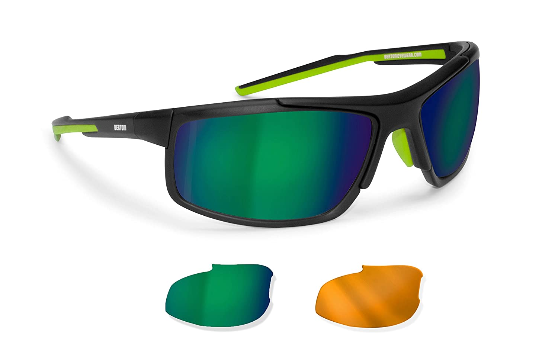 BERTONI Radbrille Windschutz Sport Sonnenbrillen 2 Wechselgläser für Radfahren - Skifahren - Laufen - Running - Fahrradbrille - D180 by