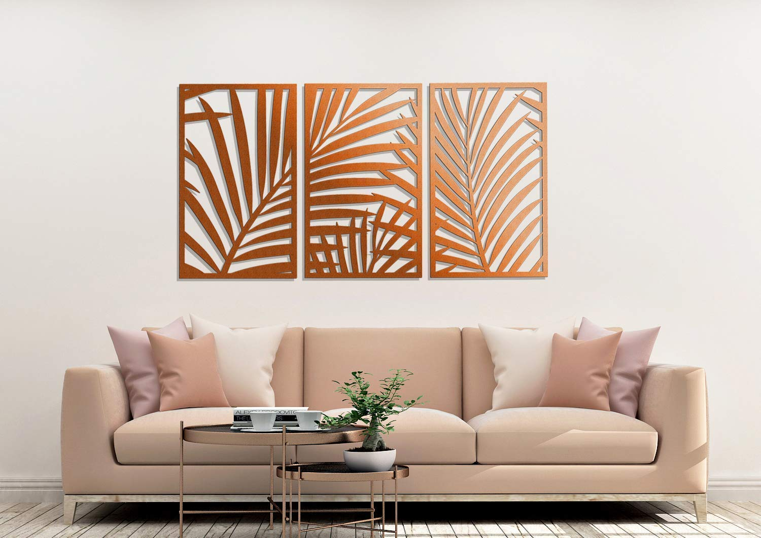 3d Stylish Wooden Wall Art Decor Palm Leaves Triptych 66 X 120 Cm Openwork Wall Decor Decorative Screen Pendant Wooden Painting Amazon Co Uk Handmade