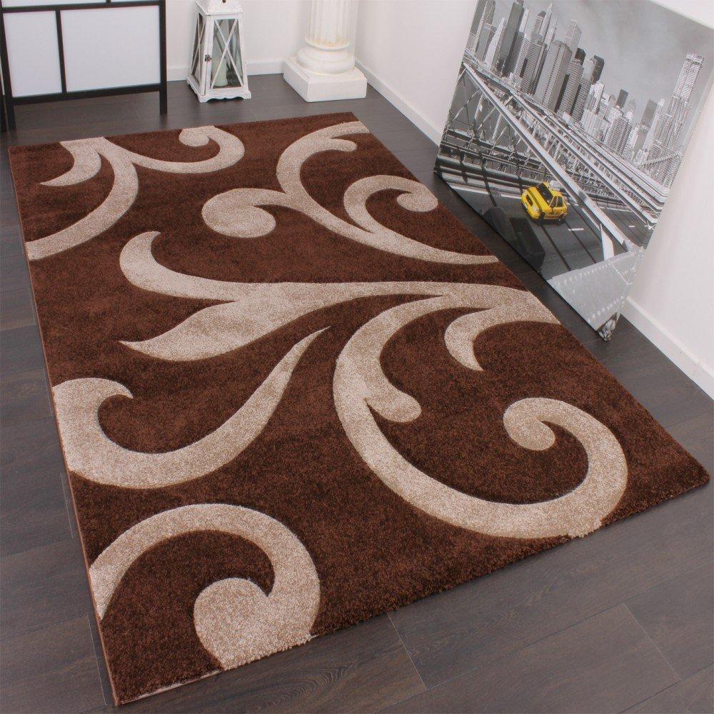 PHC Designer Teppich mit Konturenschnitt Modern Braun Beige, Grösse 160x230 cm