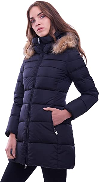 Add Long Black DOWN Jacket with Hood and FUR: