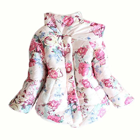 166e70cfb1a4 Amazon.com  Little Girls Faux Fur Fleece Outwear Kids Warm Floral ...