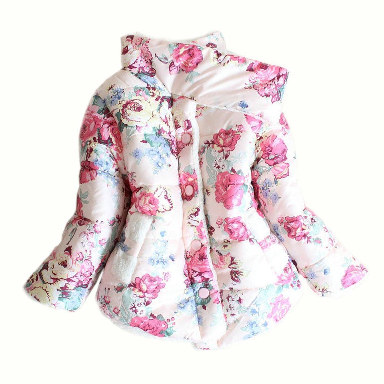 Little Girls Faux Fur Fleece Outwear Kids Warm Floral Jacket Coat