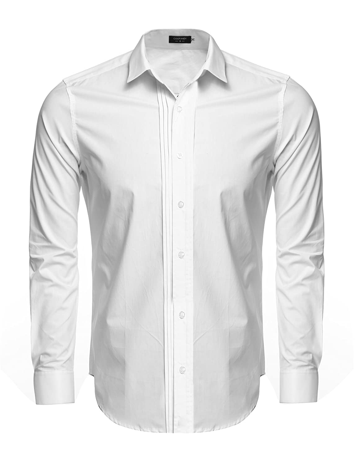 Coofandy Men's Turn Down Collar Long Sleeve Front Pleated Button Down Dress Shirt