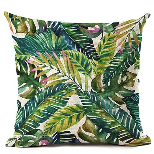 Funda de cojín de ZHOUBA, de tela, diseño de plantas y hojas verdes tropicales, para decoración del hogar, Lino, 6 Green Leaves, talla única