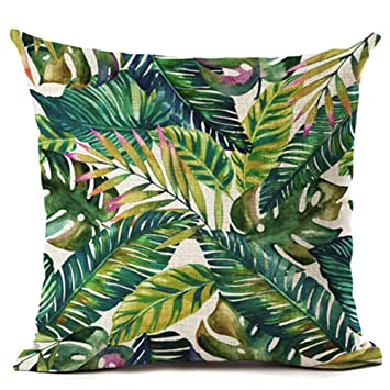 Amazon.com: Planta tropical verde hojas flor – Cojín de Lino ...