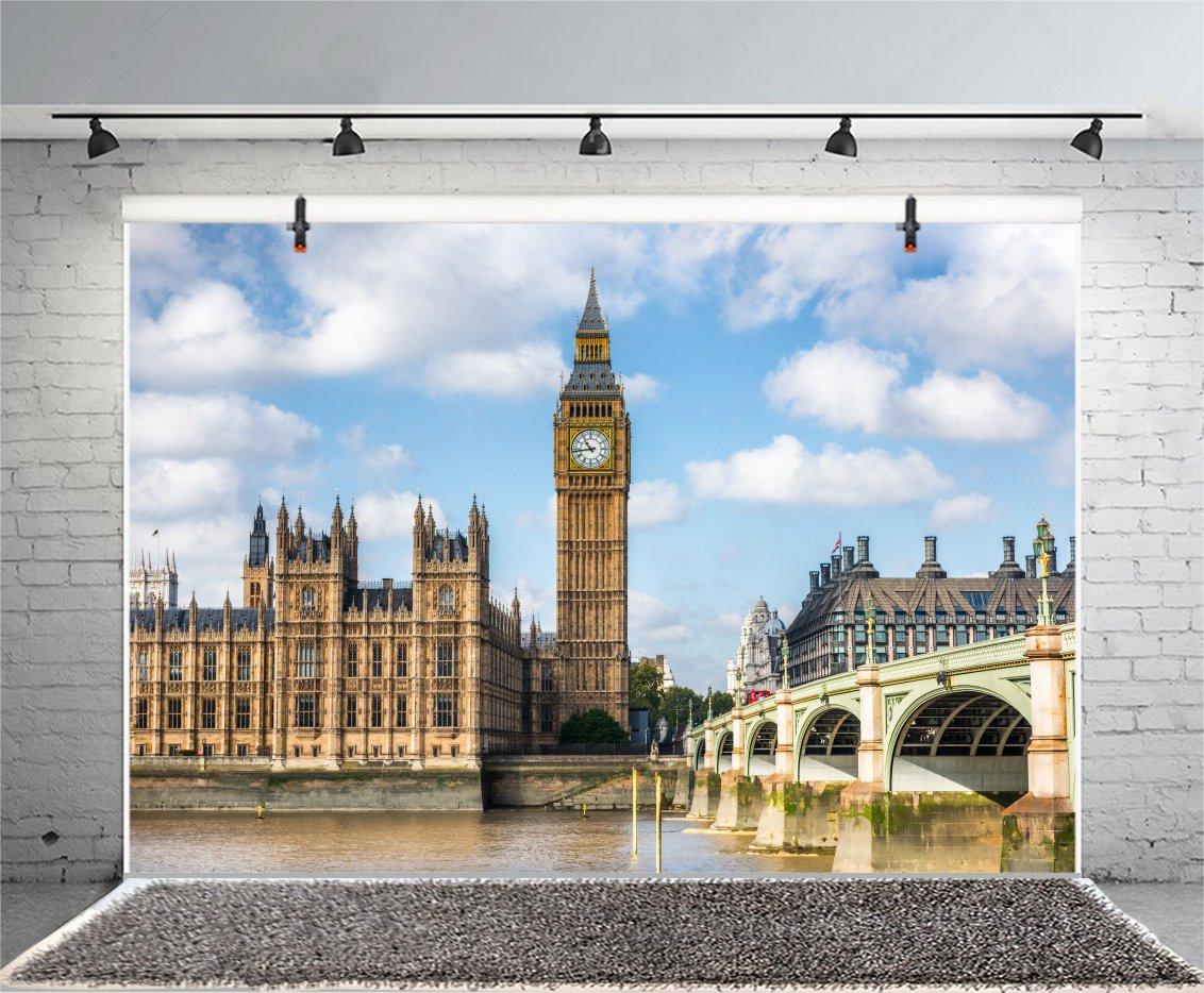Leyiyi Big Ben Backdrop 5x3ft Photography Background Clock Tower Elizabeth Tower England Parliament House Westminster Bridge London Travel Landmark European ...