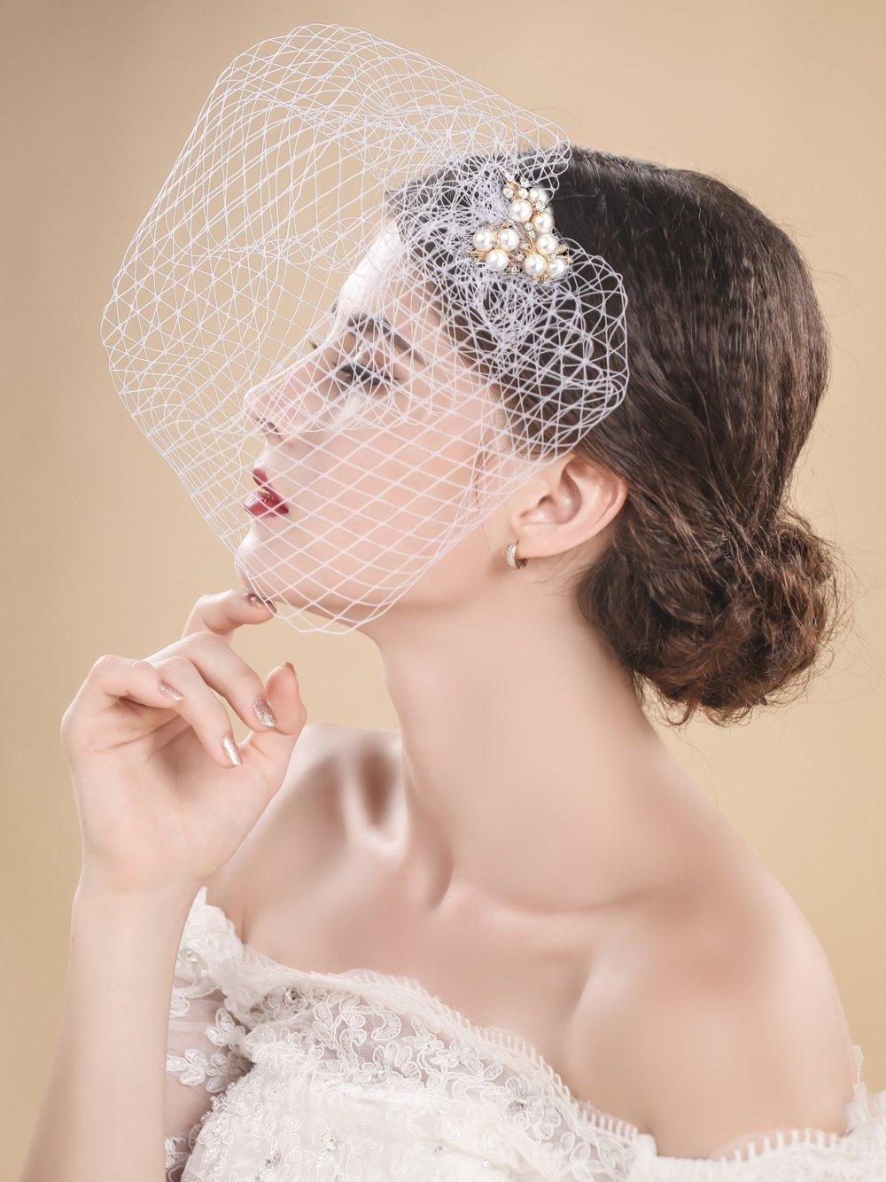 Handcess Wedding Bridcage Veil with Rhinestones Embellishments Comb ...