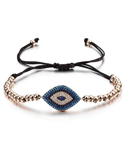 fa7f6d27d84f7 Amazon.com  CIUNOFOR Evil Eye Charm Bracelet Gold Rose Gold Plated  Stainless Steel Bead Italian Style for Women Girls  Jewelry