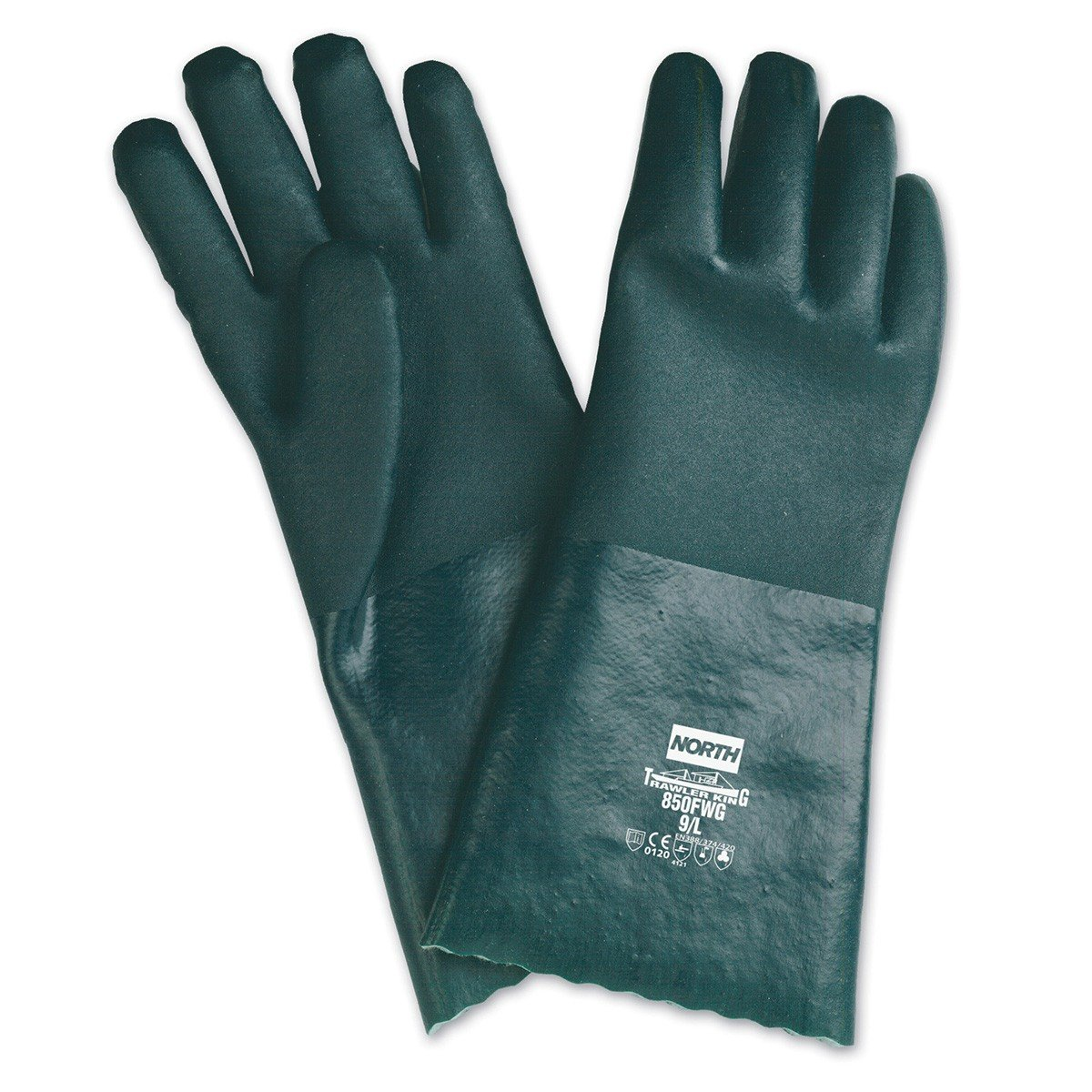 North 850FWG/10XL Honeywell Chemical Resistant Green PVC Dipped Palm Coated Work Gloves with Interlock Knit Liner And Gauntlet Cuff, Size 10 by North B00IUN4VOK