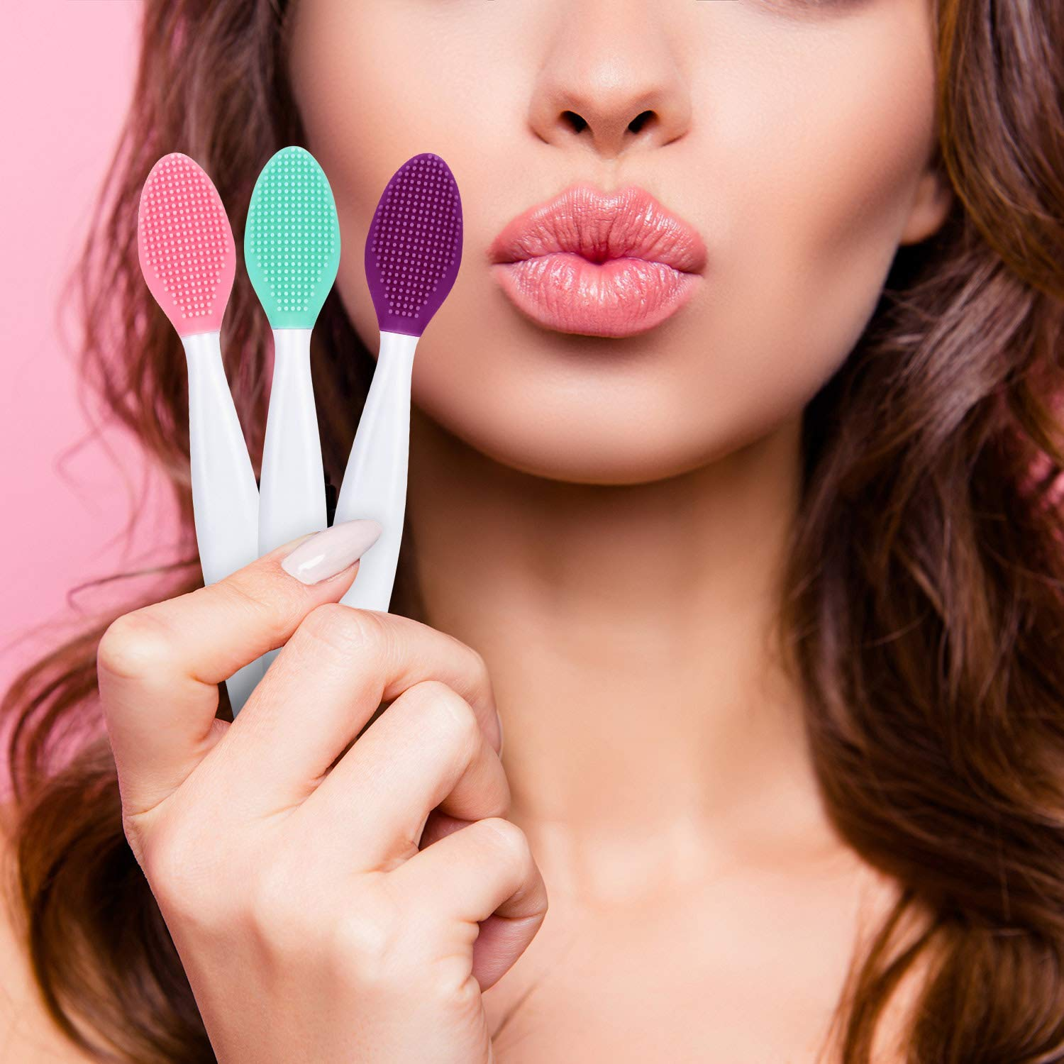 8 Pcs Lip Scrub Brush, Silicone Lip Scrub Double-Sided Tool for Smoother and Fuller Lip Exfoliator: Beauty