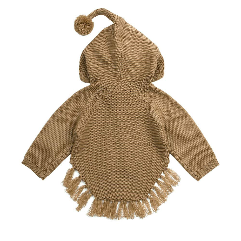 Rosiest Newborn Infant Baby Boys Girls Bow Tassel Knitted Hooded Tops Sweater Outfits