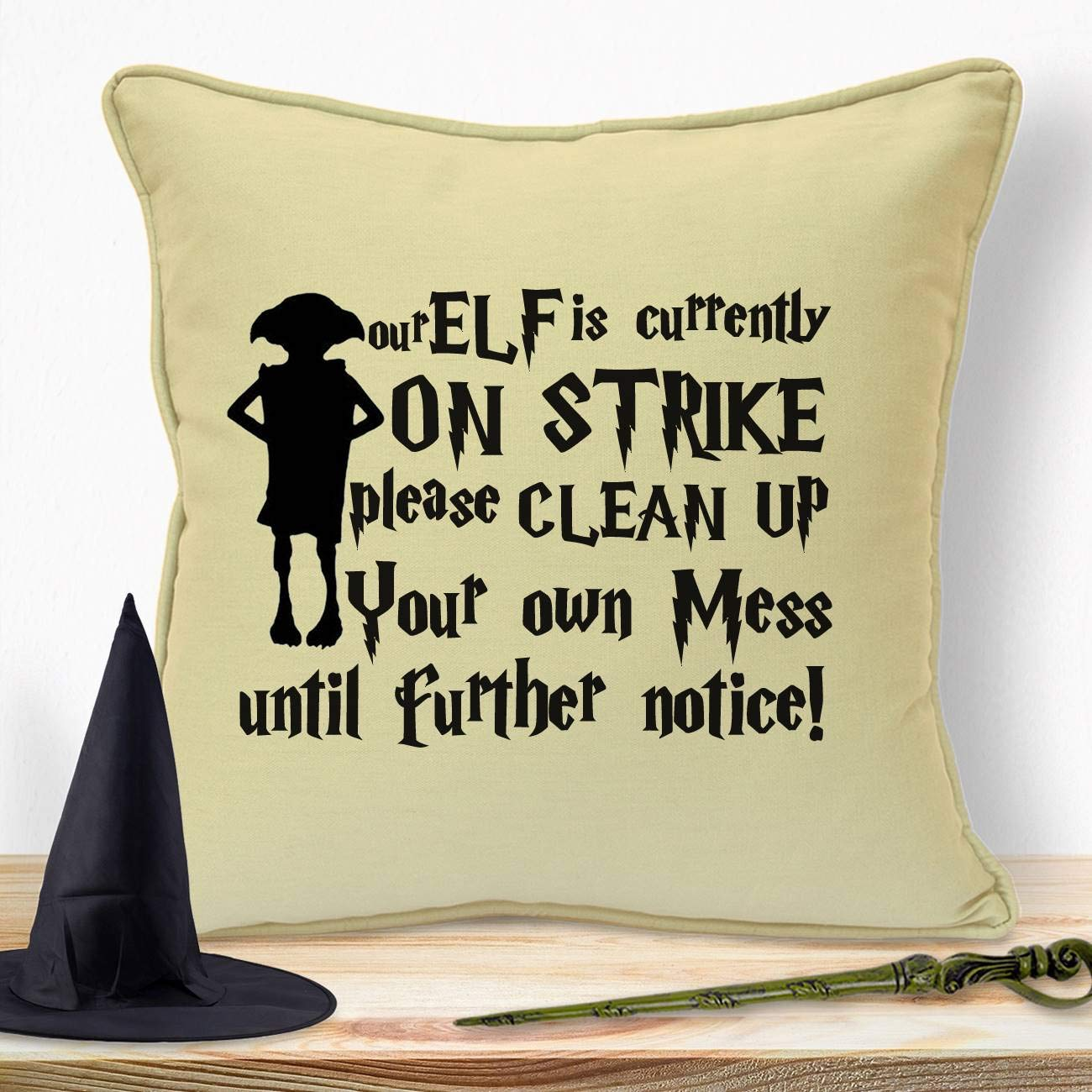 Harry Potter Gifts For Her Girls Kids Boys Women Girlfriend Children Adults Christmas Birthday Xmas Anniversary Handmade Housewarming Quotes Unique Room Decorations Ideas Elf On Strike Cushion