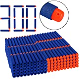 Dreampark Refill Bullet Darts 300 PCS for N-Strike Elite Blasters Nerf Guns Standard Size and Soft Hollow Rubber Tips for Kids Toys ( Blue )