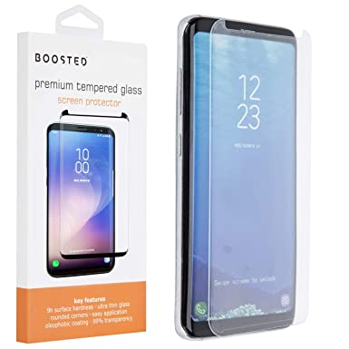 Boosted Samsung Galaxy S8 9H Case friendy screen protector with Application  Frame, Oleophobic Coating Anti Fingerprint Anti-Scratch High Touch