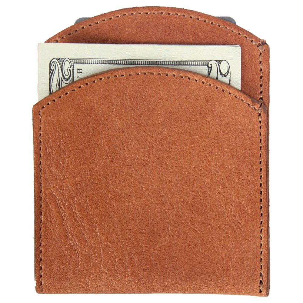 Best Mens Leather Front Pocket Wallet Slim Two Pockets Saddle Tan USA Made