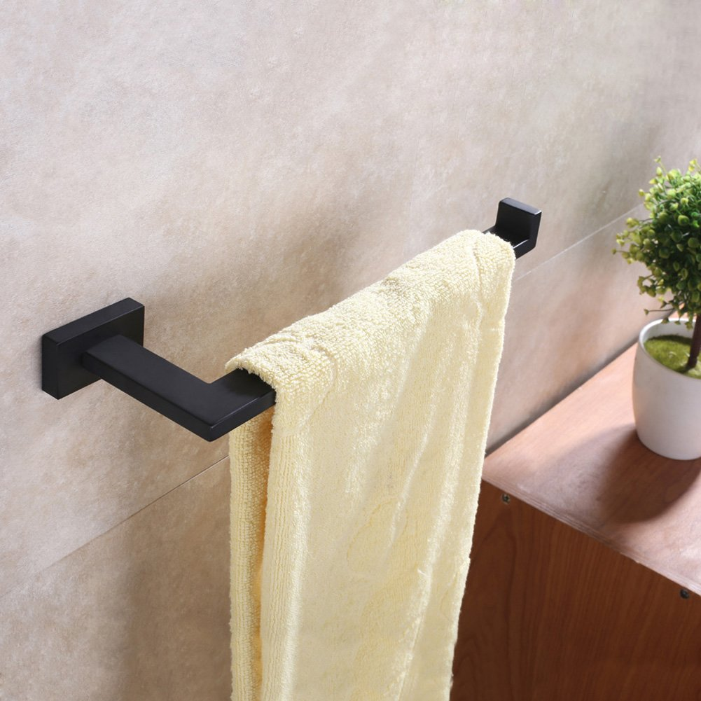 Bath Towel Holder, Aomasi SUS304 Stainless Steel Half Open Face Towel Long Bar, Contemporary Square Kitchen Bathroom Accessories, Stylish Matte Black by Aomasi (Image #7)