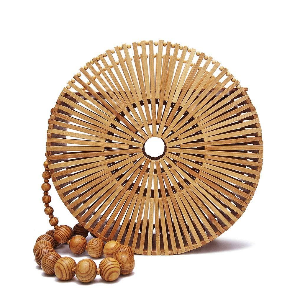 Women Bamboo Bag Hollow Handbag Wooden Beads Belt Round Beach Basket Shoulderbag