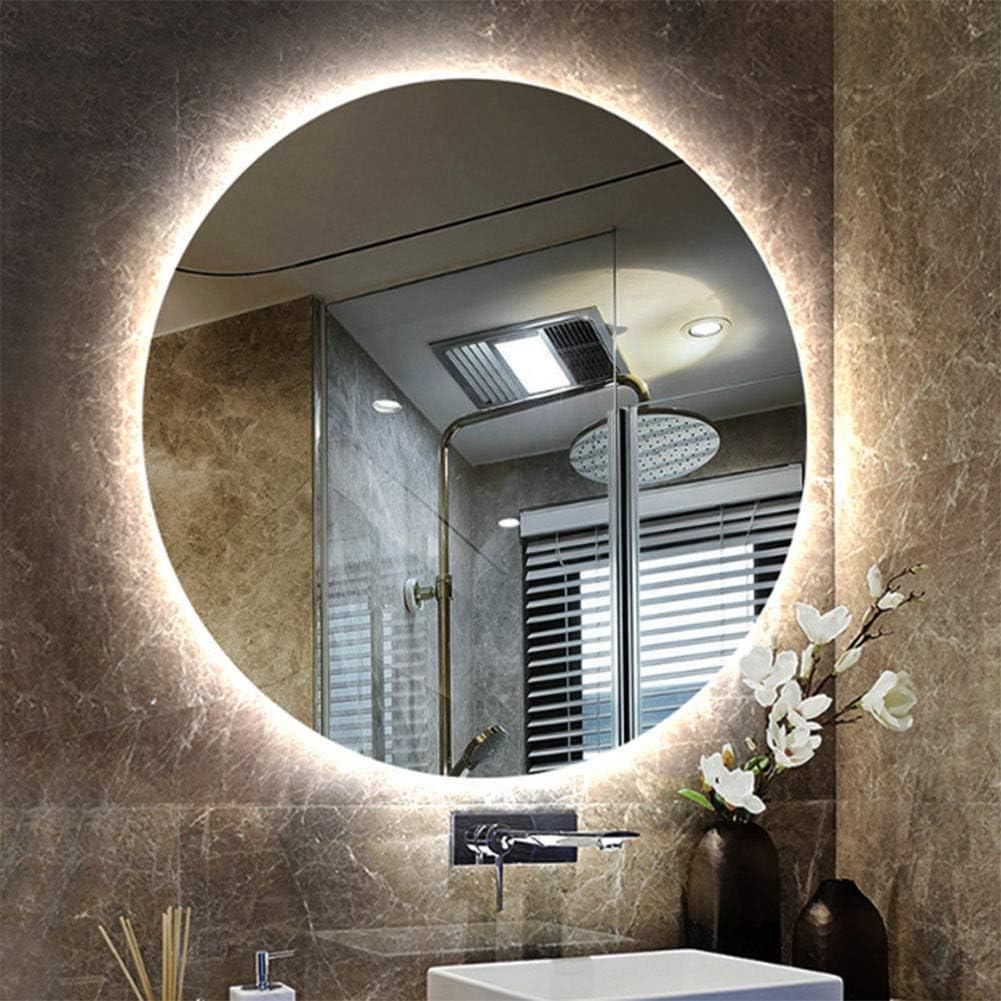 Bath Miroir de Salle de Bains Rond avec Lumineux LED,Miroir Mural éclairé  de vanité de Maquillage, miroirs rétro-éclairé sans Cadre, antidéflagrant,
