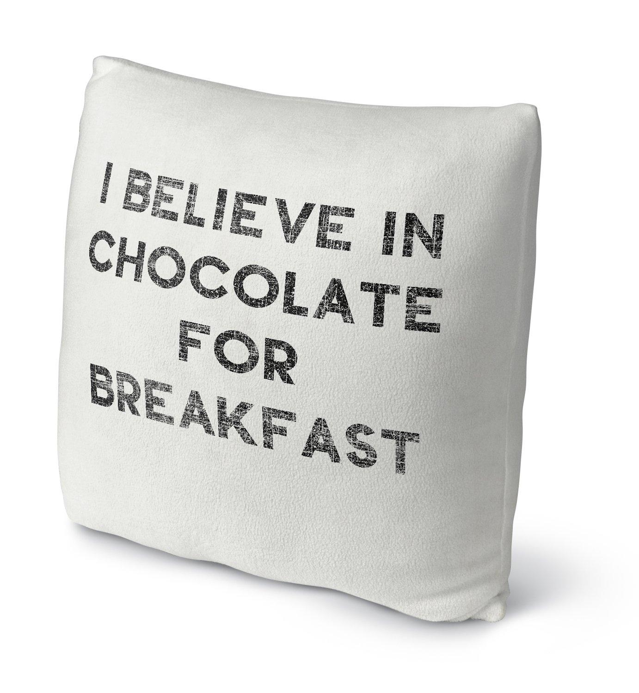 Size: 18X18X4 - Black KAVKA Designs Chocolate For Breakfast Fleece Throw Pillow, - TELAVC155FBS18