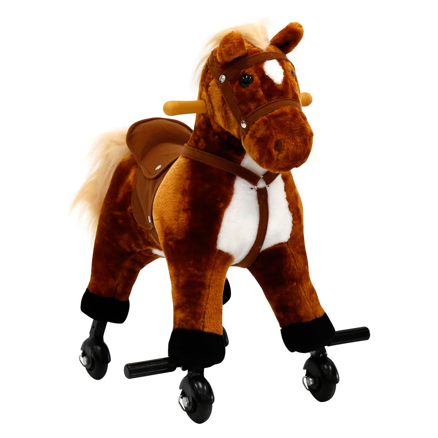 For Children's Day Gift Rocking Horse Birthday Present Kids Girls Boys Walking Pony Ride on Horse Stuffed Animal Rocker Toy Modern Outdoor Wooden Rocking Plush Neigh Sound w/Wheels,Peach Tree