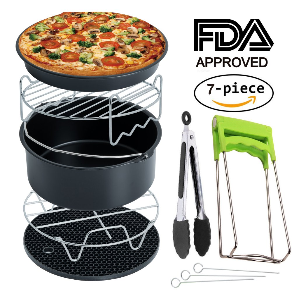 Air Fryer Accessories for Gowise Phillips Cozyna and Secura, Set of 7, Fit all Airfryer 3.7QT - 4.2QT - 5.3QT - 5.8QT RJUN