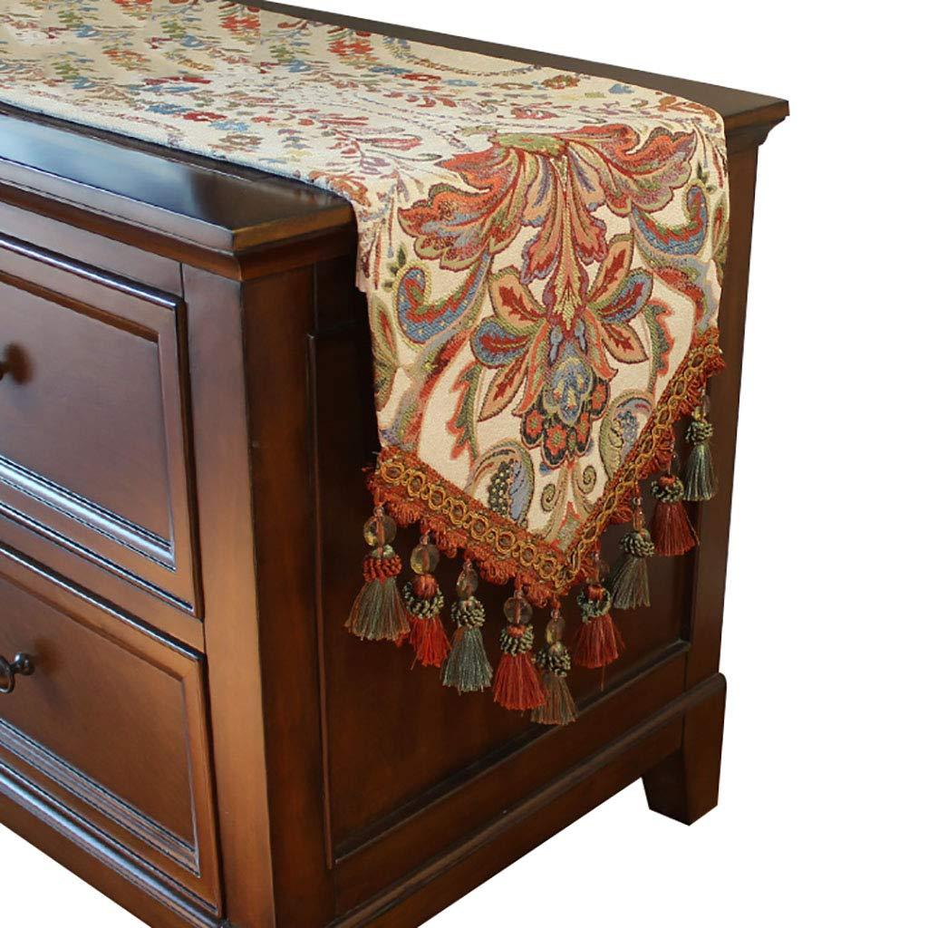 シェニールテーブルランナー、ダイニングテーブル、テレビのキャビネット、コーヒーテーブル、靴のキャビネット、ポーチのための豪華なテーブルランナー(2色と4サイズで利用可能) (色 : ベージュ, サイズ さいず : 33cm×240cm) 33cm×240cm ベージュ B07S3RQ3CN