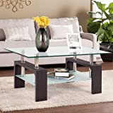 mecor Rectangle Glass Coffee Table-Wulnut Modern Side Coffee Table with Lower Shelf, Wooden Legs-Suit for Living Room