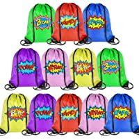 PROLOSO Drawstring Backpack Super Hero Drawstring Bags Pull String Bags Cinch Bags Bulk Superhero Party Favor Bags for Kids 12 Pcs