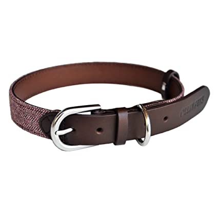 3107e7905447 OLLIN PETS Collars-Leather Dog Collar,Handmade Genuine Real Leather & Tweed,  Neck