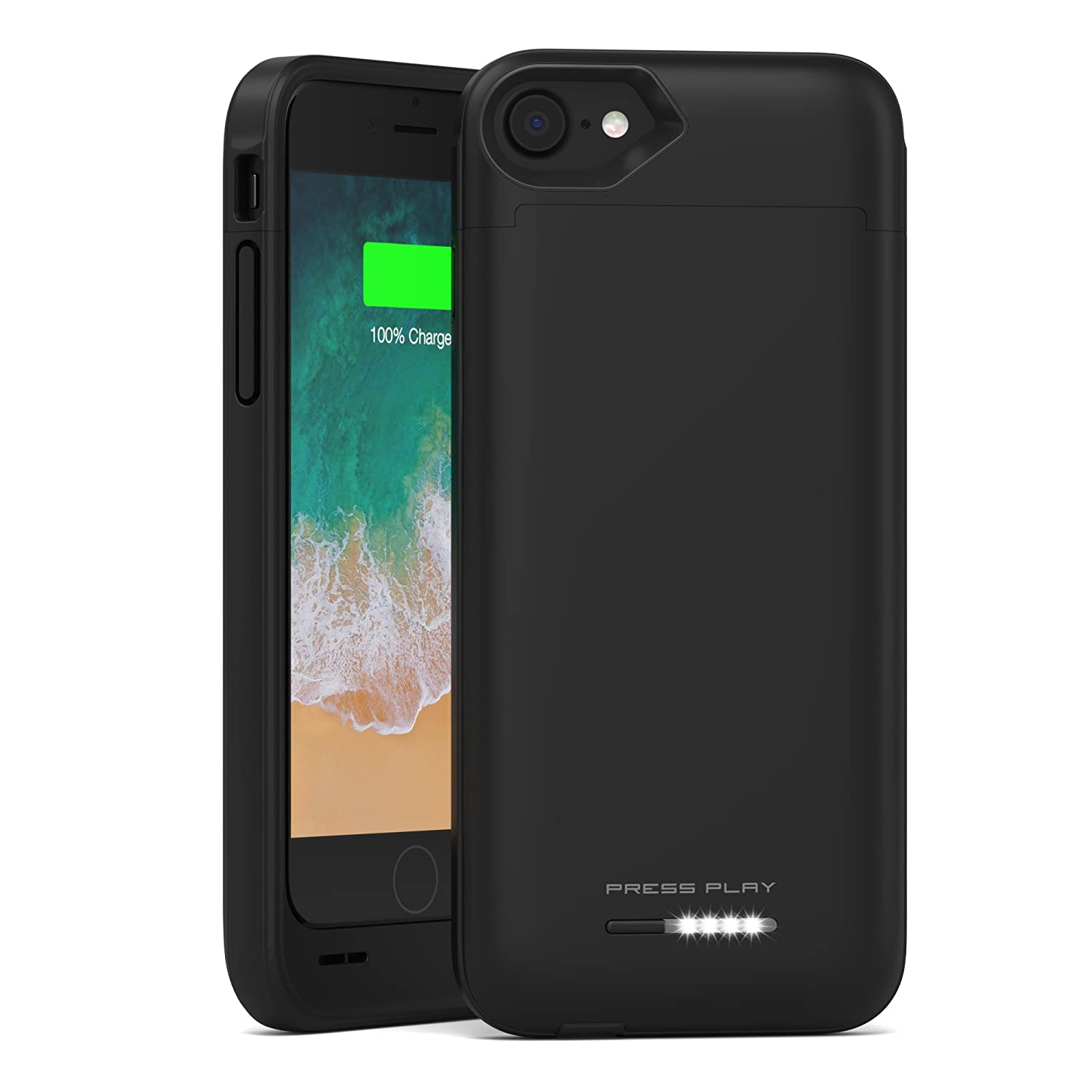 brand new 471ba 9c9f6 iPhone 8 Battery Case with Qi Wireless Charging, (Apple Certified) PRESS  PLAY Nero 3100mAh Slim Rechargeable Extended Protective Portable Backup ...