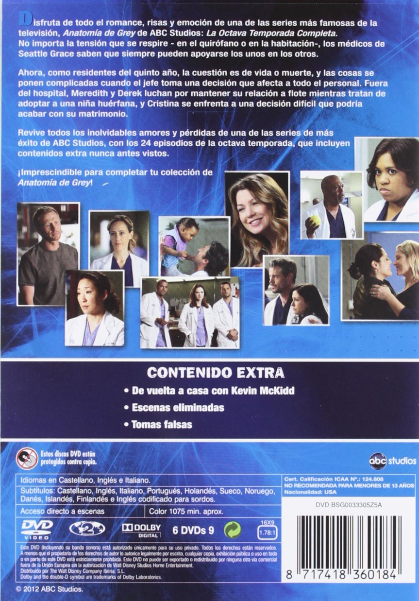 Anatomia De Grey - Temporada 8 [DVD]: Amazon.es: Ellen Pompeo ...