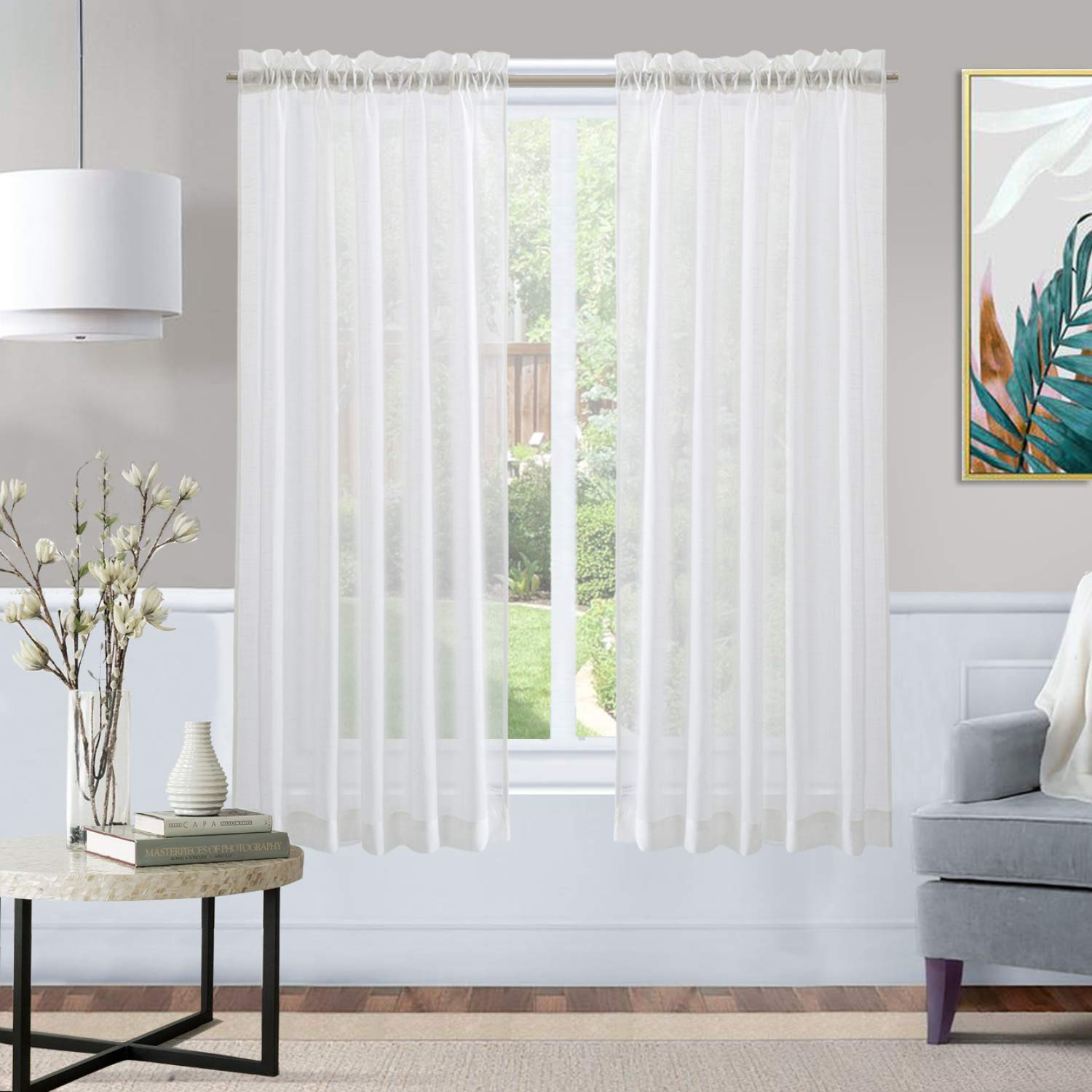 XWTEX Tier Curtains for Kitchen Linen Like Cafe Curtains Privacy Semi Sheer  Half Window Curtains for Living Room, 2 Panels, 45 Inches Long, White