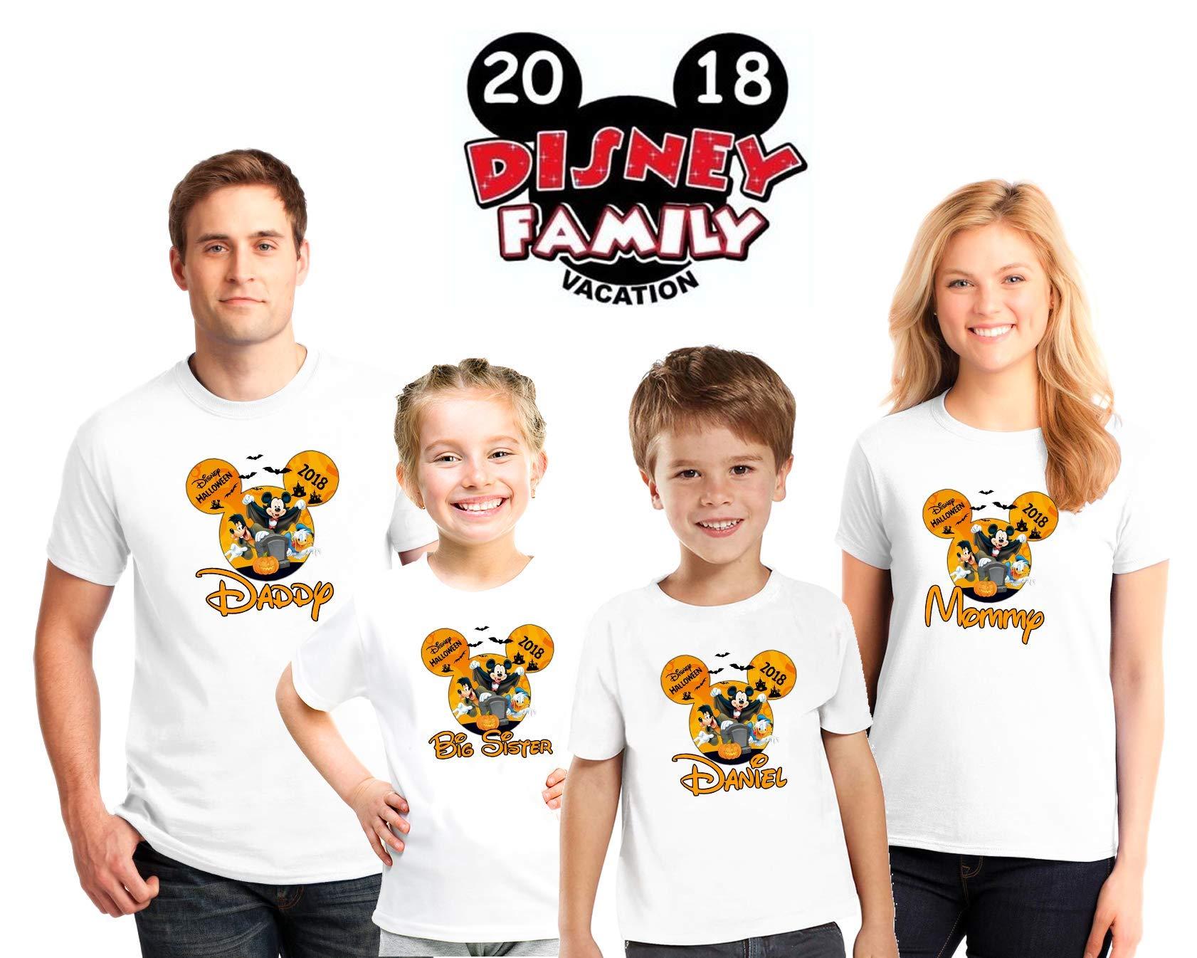 Halloween Disney family matching custom shirts, Halloween Family vacation Disney shirts, Personalized matching Disney Shirts for Family by Bachelorettees