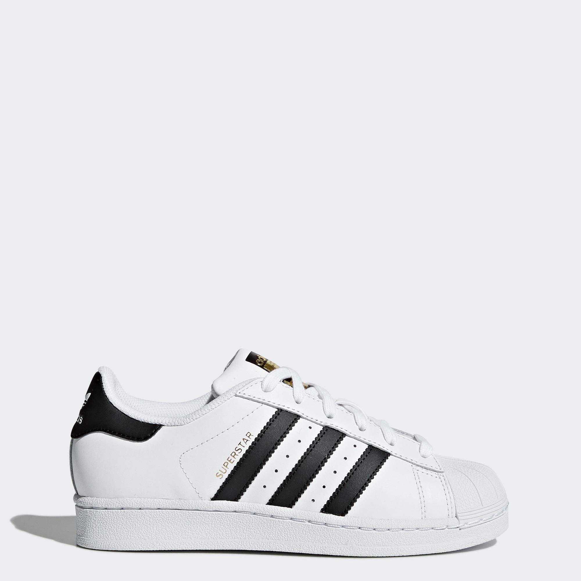 adidas Originals Kids' Superstars Running Shoe, WhiteBlack, 4 M US