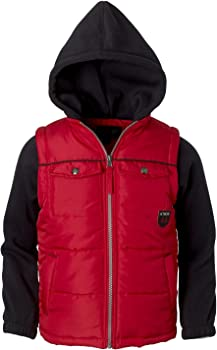 iXtreme Boys' Patch Pocket Vest With Fleece Hood And Sleeves