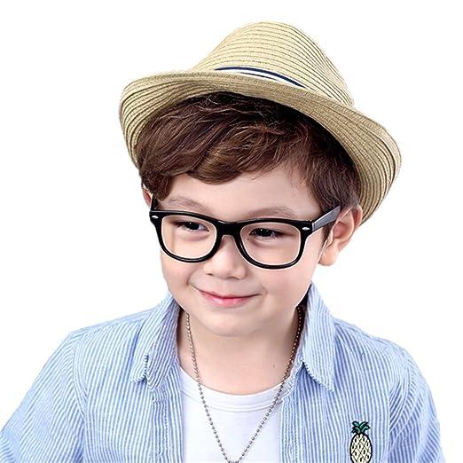 6e1fb18145c Amazon.com  DB-Children hat Boys Kids Spring Summer Straw Jazz Hat ...