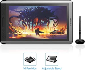 HUION KAMVAS 16 Digital Drawing Tablet with Screen Graphics Pen Display with Battery-Free Stylus Tilt 14 Press Keys Touch Bar Adjustable Stand for Art Animation Beginner-15.6inch