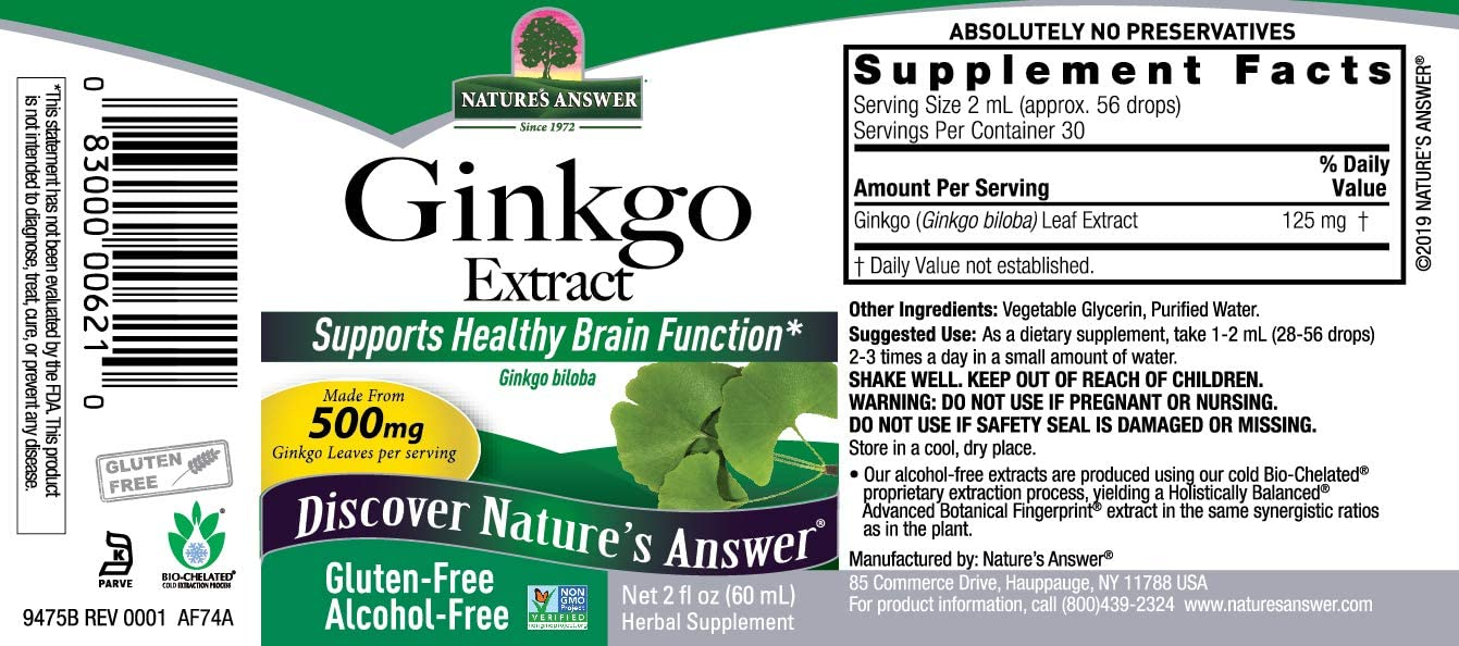 Nature s Answer Ginkgo Leaf Extract Alcohol Free Gluten Free 500 mg 2 Ounces Ideal High Strength Supplements for Circulation Memory Focus Concentration Eyes Energy Vegan Vegetarians