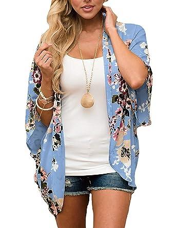 896cfe71f Women Chiffon Printed Cardigan Kimono Robe Tops Beach Bikini Cover up  Blouse Blue S