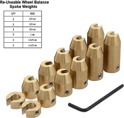 H2racing 12 Stück Motorrad Wiederverwendbar Messing Rad Gesprochen Balance Gewichte Reifenwuchtmaschine Nachfüllung Für Stahlfelgen Wuchtgewichte Auto