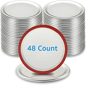 48-Count Canning Lids Regular Mouth, Premium Food Grade Tinplate, 100% Fit & Airtight for Mason Jar Lids with Silicone Seals, ARTICTERN, Split-Type Lids for Ball, Kerr Jars, 2.68 inches