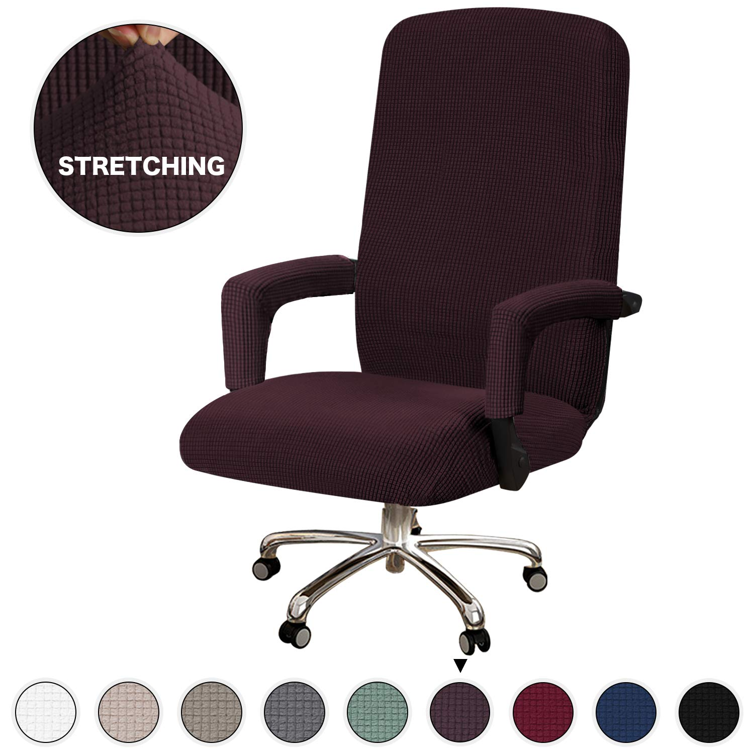 Turquoize Large Office Chair Slipcover for Computer Chair Cover Stretch Furniture Cover Rotating Chair Cover with Armrest Covers Machine Washable Chair Cover for Office, Only Cover, Large, Brown
